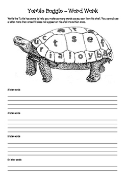 Yertle the Turtle - Dr Seuss - Yertle Boggle - Word Work