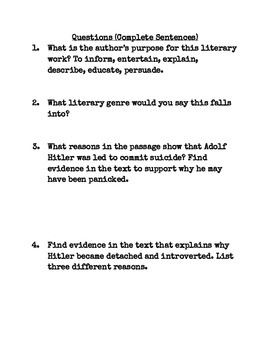 Yertle the Turtle/ Hitler biography questions: Common Core Aligned