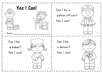 """Yes I Can"" Predictable Easy Reader with a Community Helpers Theme"