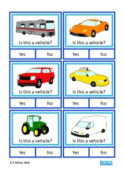 Vocabulary Categories Classifying Yes No Autism Speech Therapy special education