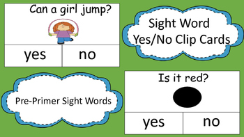 Yes/No Clip Cards(Pre-Primer Sight Words)