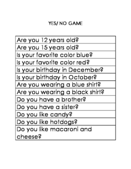 Yes/ No Game Visual Helper Special Education & Autism