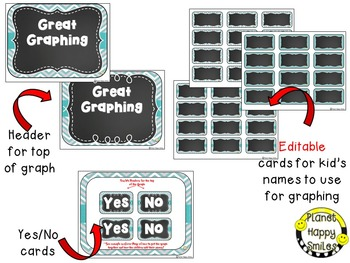 Yes/No Graph Daily Questions in a Teal and Chalkboard Theme ~ EDITABLE