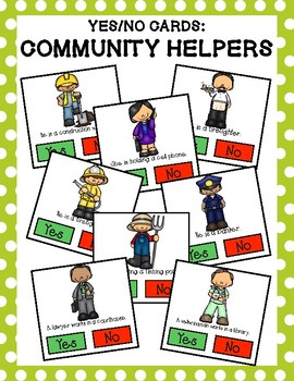 Yes/No Question Cards: Community Helpers