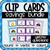 Yes No Questions Clip Cards BUNDLE (Nouns, Verbs and Colors) Special Education