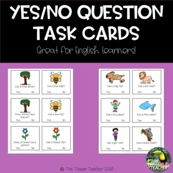 Yes/No Question Task Cards - reading comprehension