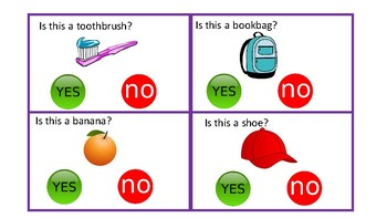 Yes/No Task Cards (Clothes Pins)