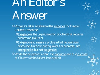Yes, Virginia, There Is a Santa Claus--A Rhetorical Analysis