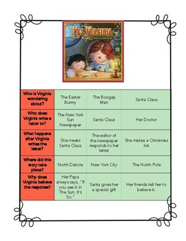 Yes, Virginia, There is a Santa Claus Story Elements Activities
