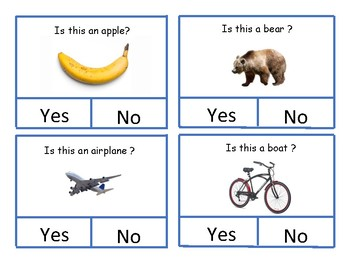 Yes and No Cards with Objects