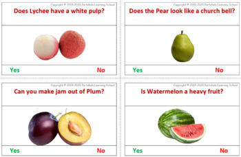 Yes or No - 40 Feature Flash cards on Fruits with Real Images