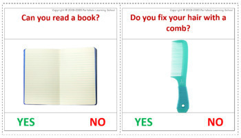 Yes or No - 60 Feature Function Flash cards on Common Item with Real Images