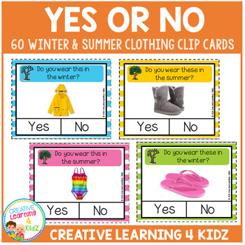 Yes or No Clothing Clip Cards with Real Pictures