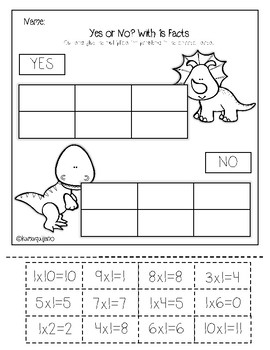 Yes or No? Multiplication Facts Packet Facts 0-10