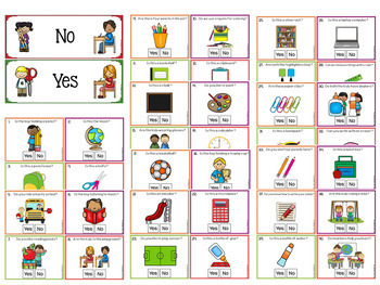Yes No Question Cards (Closed Questions) for Back to School