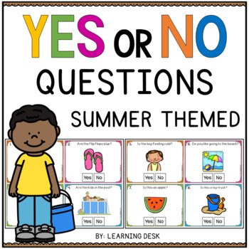 Yes No Question Cards (Closed Questions) for Summer