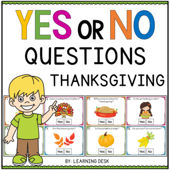 Yes No Question Cards (Closed Questions) for Thanksgiving