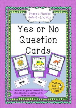 Yes or No Question Cards Phase 3 Set 6 - j v w x