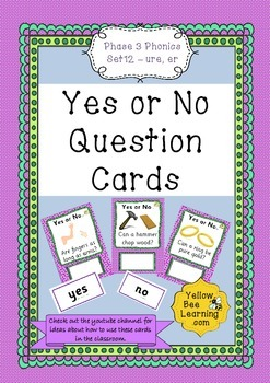 Yes or No Question Cards Phonics Phase 3 Set 12 - er ure