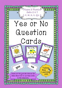 Yes or No Question Cards Phonics Phase 3 Sets 6 & 7 - j v w x z y qu