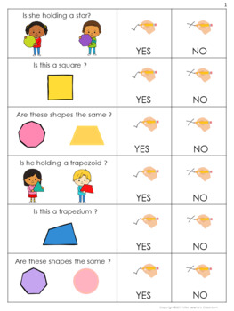 Yes or No Questions - 2D Shapes - Special Education
