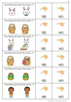 Yes or No Questions - Easter Same or Different - Special Education
