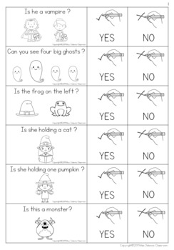Yes or No Questions - Halloween- Special Education