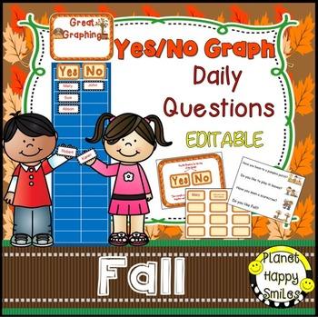Yes/No Graph Questions(EDITABLE)~Fall, pumpkins, apples, Halloween,Thanksgiving