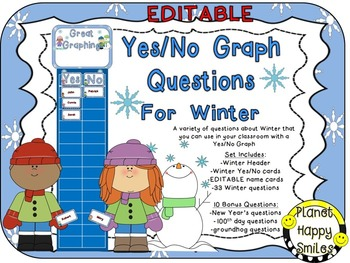 Yes/No Graph Questions about Winter ~ EDITABLE name cards