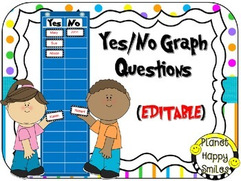 Yes/No Graph Questions in Bright Polka Dots & Stripes ~ EDITABLE