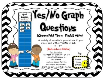Yes/No Graph Questions in Chevron Print B/W