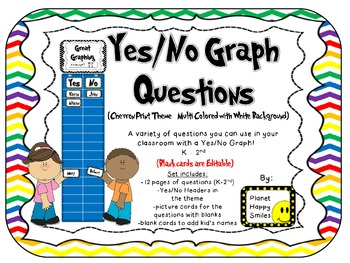 Yes/No Graph Questions in Chevron Print Multi Colored with White Background