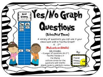 Yes/No Graph Questions in Zebra Print