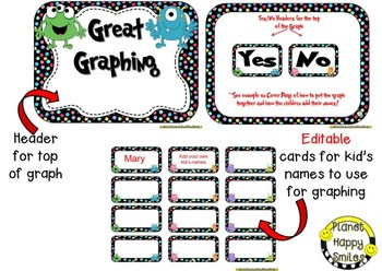 Yes/No Graph Questions in a Monster Theme ~ EDITABLE