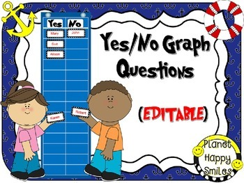 Yes/No Graph Questions in a Nautical Theme ~ EDITABLE