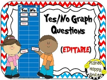 Yes/No Graph Questions in a Red, White & Blue Chevron Print ~EDITABLE
