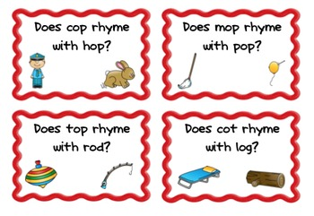 Yes/No Short Vowel Rhyming Game