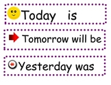 Yesterday, Today and Tomorrow Labels for Days of the Week Charts
