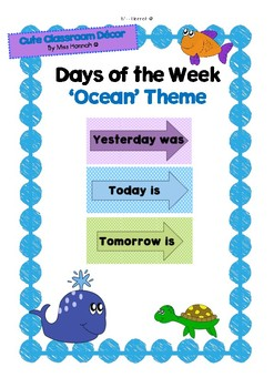 Yesterday was...Today is...Tomorrow is...Days of the Week Cards (Under The Sea)