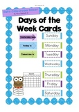 Yesterday was...Today is...Tomorrow is... Days of the Week Cards