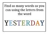 Free! Word Challenge Task Card