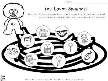 Yeti Loves Spaghetti Articulation Practice /L, S, R, CH, SH, TH/ & R-Blends