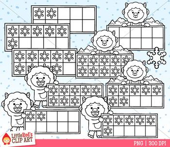 Yeti Ten Frames Winter Clip Art