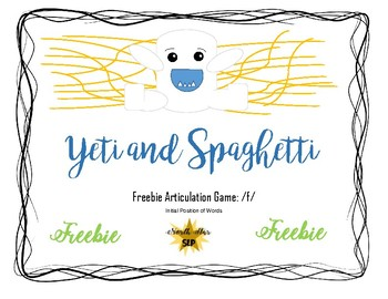 Yeti in My Spaghetti Game Companion Freebie: Articulation Initial f