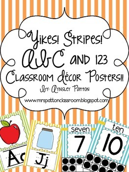 Yikes! Stripes!  ABC and 123 Classroom Decor Posters!