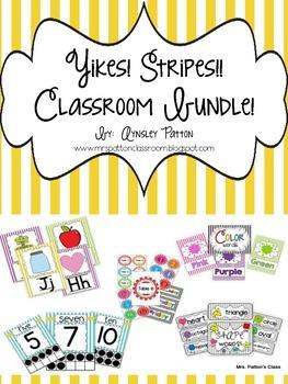 Yikes! Stripes!  Classroom Decor Bundle!!