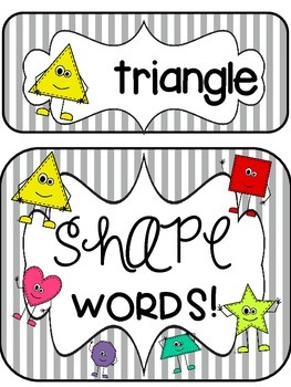 Yikes! Stripes!! Shape and Color Words Classroom Decor Posters!