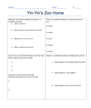 Yin-Yin's Zoo Home Decodable Reader #6