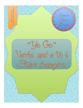 Yo Go Verbs/e-i StemChange Oral and Written Activity with a Thanksgiving Theme