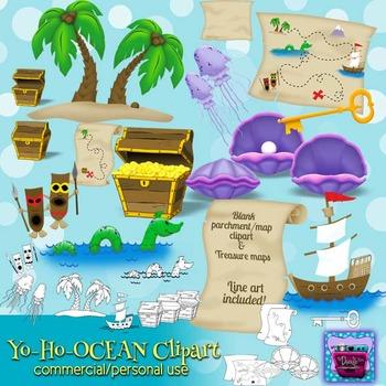 Ocean and Treasure Clipart